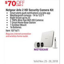 netgear Arlo 2 HD Security Camera Kit $70 OFF