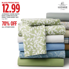 JCPenney Home 300-TC Easy Care Twin Sheet Set (Assorted Solid)