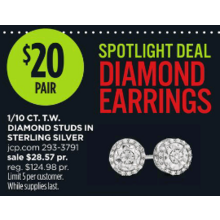 Sterling Silver 1/10-cttw. Diamond Stud Earrings
