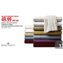 Royal Velvet 500-TC Wrinkle-Free Damask Sheet Set (Assorted Colors)