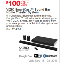 VIZIO SmartCast Sound Bar Home Theater System - $100 Off