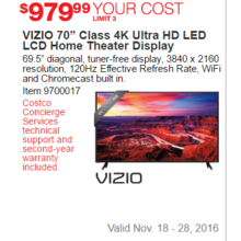 "VIZIO 70"" Class 4K Ultra HD LED LCD Home Theater Display"