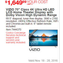 "VIZIO 70"" Class 4K Ultra HD LED LCD Home Theater Display With Dolby Vision High Dynamic Range"