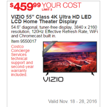 "VIZIO 55"" Class 4K Ultra HD LED LCD Home Theater Display"