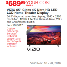 "VIZIO 65"" Class 4K Ultra HD LED LCD Home Theater Display"