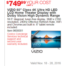 "VIZIO 60"" Class 4K Ultra HD LED LCD Home Theater Display With Dolby Vision High Dynamic Range"