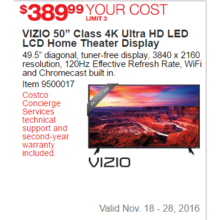 "VIZIO 50"" Class 4K Ultra HD LED LCD Home Theater Display"