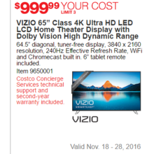 "VIZIO 65"" Class 4K Ultra HD LED LCD Home Theater Display With Dolby Vision High Dynamic Range"