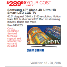 "Samsung 40"" Class 4K Ultra HD Smart LED LCD TV"