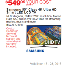"Samsung 55"" Class 4K Ultra HD Smart LED LCD TV"