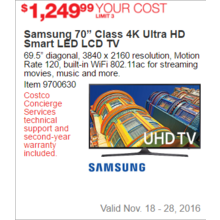 "Samsung 70"" Class 4K Ultra HD Smart LED LCD TV"