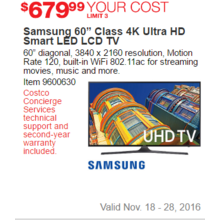 "Samsung 60"" Class 4K Ultra HD Smart LED LCD TV"