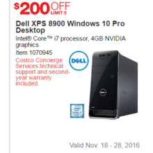 Dell XPS 89000 Windows 10 Pro Desktop - $200 Off