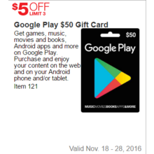 Google Play $50 Gift Card - $5 Off