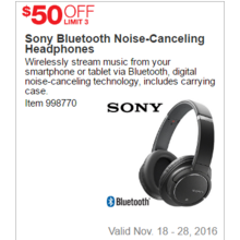 Sony Bluetooth Noise-Canceling Headphones - $50 Off