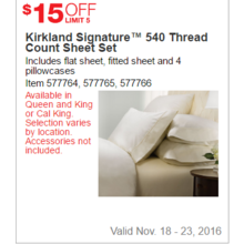 Kirkland Signature 540 Thread Count Sheet Set - $15 Off