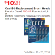 Oral-B Replacement Brush Heads - $ 10 Off