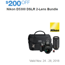 Nikon D5300 DSLR 2-Lens Bundle - $200 Off