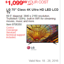 "LG 70"" Class 4K Ultra HD LED LCD TV Set"