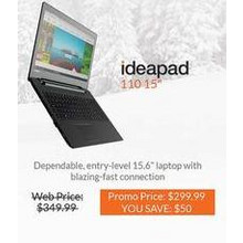 "Lenovo 110 Ideapad 15.6"" Laptop"