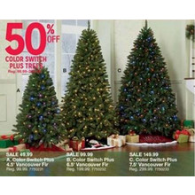 Color Switch Plus Vancouver Fir 4.5-ft. Christmas Tree