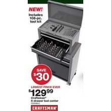Craftsman 5-Drawer Tool Center w/ 108-pc. Mechanics Tool Set