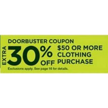 30% OFF $50+ Clothing