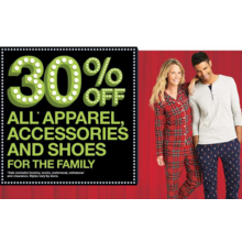 30% off  men's and women's apparel, accessories, and shoes