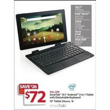 "SmarTab 10.1"" Android 2-In-1 Tablet w/ Intel Atom, 32GB & Detachable Keyboard"