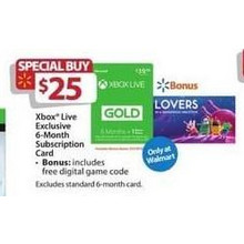 Xbox Live 6-Month Subscription Card + Digital Game Code