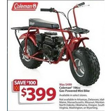 Coleman 196cc Gas-Powered Mini Bike