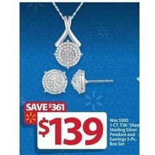 Sterling Silver 1-cttw. Diamond Pendant & Earrings 3-pc. Set