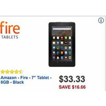 "$33.33 Amazon Fire 7"" Tablet w/ 8GB RAM [EarlyBird]"