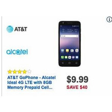 AT&T GoPhone Alcatel Ideal 4GB LTE w/ 8GB Storage Prepaid Cell Phone