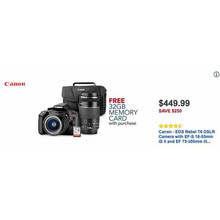 Canon EOS Rebel T6 DSLR Camera w/EF-S 18-55mm IS II & EF 75-300mm III Lens + 32GB Memory Card [EarlyBird]