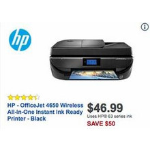 HP OfficeJet 4650 Wireless All-In-One Black Instant Ink Ready Printer