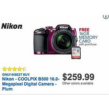 Nikon CoolPix B500 16.0 MP Digital Camera (Plum) + 16GB RAM Memory Card