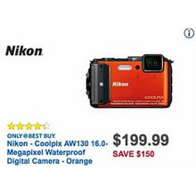 Nikon Coolpix AW130 16.0 MP Waterproof Digital Camera (Orange)