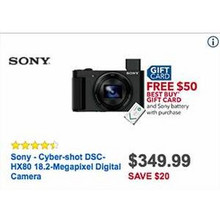 Sony Cyber Shot DSC HX80 18.2MP Digital Camera + Sony Battery + $50 GC