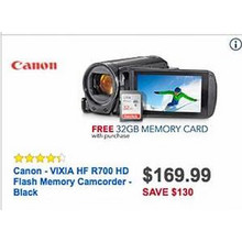 Canon VIXIA HF Black HD Flash Memory Camcorder (R700)