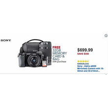 Sony Alpha a6000 Mirrorless Camera w/ 16-50mm & 55-210mm Lenses + 32GB Memory Card & Bag