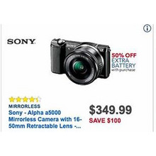 Sony Alpha a5000 Mirrorless Camera q/ 16mm Retractable Lens + Extra 50% Off Extra Battery