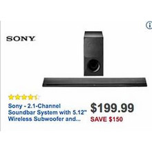 Sony 2.1-Channel Soundbar System w/ 5.12-in. Wireless Subwoofer