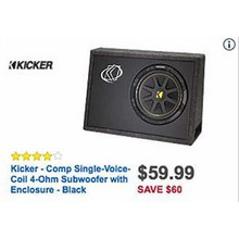 Kicker Comp Single Voice Coil 4-Ohm Black Subwoofer w/ Enclosure