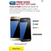 FREE w/ Installment Billing Samsung Galaxy S7 + $250 Best Buy Gift Card + Samsung Gear VR