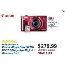 Canon PowerShot HS 20.3mp Red Digital Camera (SX720) + 32GB Memory Card