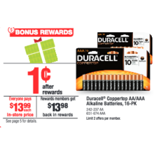 Duracell Coppertop AA Alkaline Batteries, 16-Pk