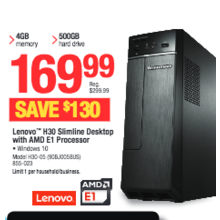 Lenovo H30 Slimline Desktop with AMD E1 Processor