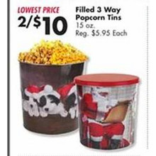 2 for $10 Filled 3-Way Popcorn Tins