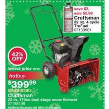 Craftsman 22-in. Dual Stage Snow Thrower [EarlyBird]